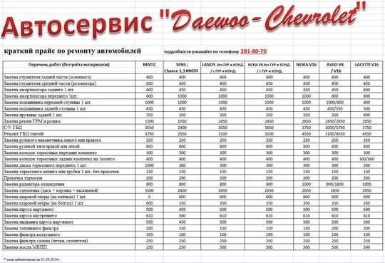 материал почти прайс-лист на работы автосервиса автографе спб магазинах BarkovSki